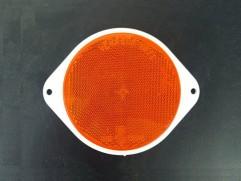 Odrazka oranžová kruhová s ušami fí 80mm (priemer reflexnej plochy)